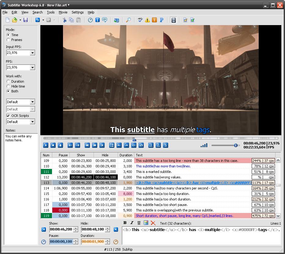 Skärmbild på Subtitle Workshop