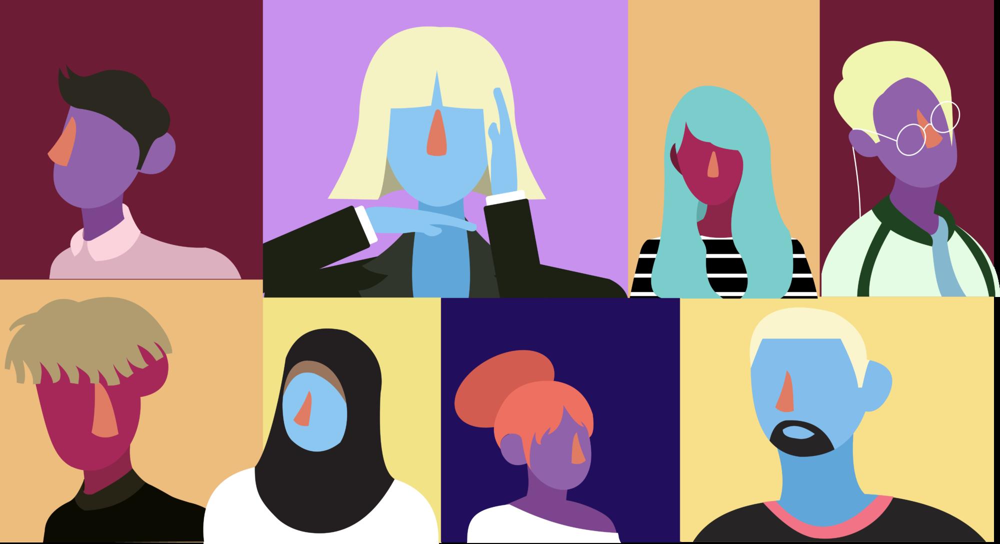 Tecknat porträtt på ett antal personer