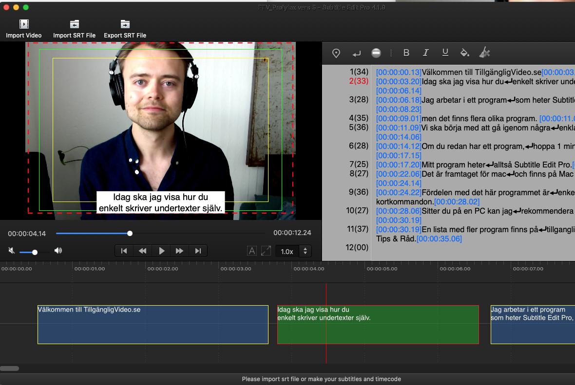 Skärmbild på Subtitle Edit Pro som används för att skriva undertexter