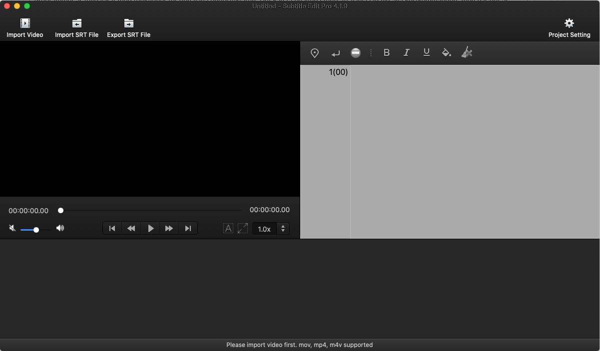 Skärmbild på Subtitle Edit Pro