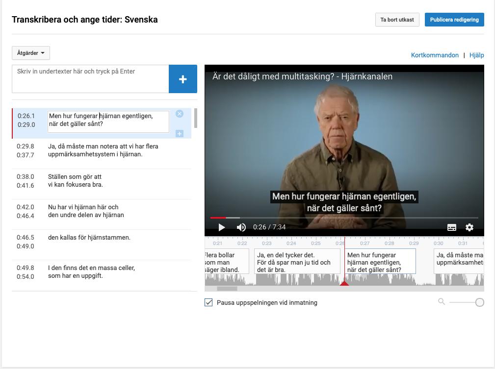 Skärmbild på YouTube Subtitle Editor