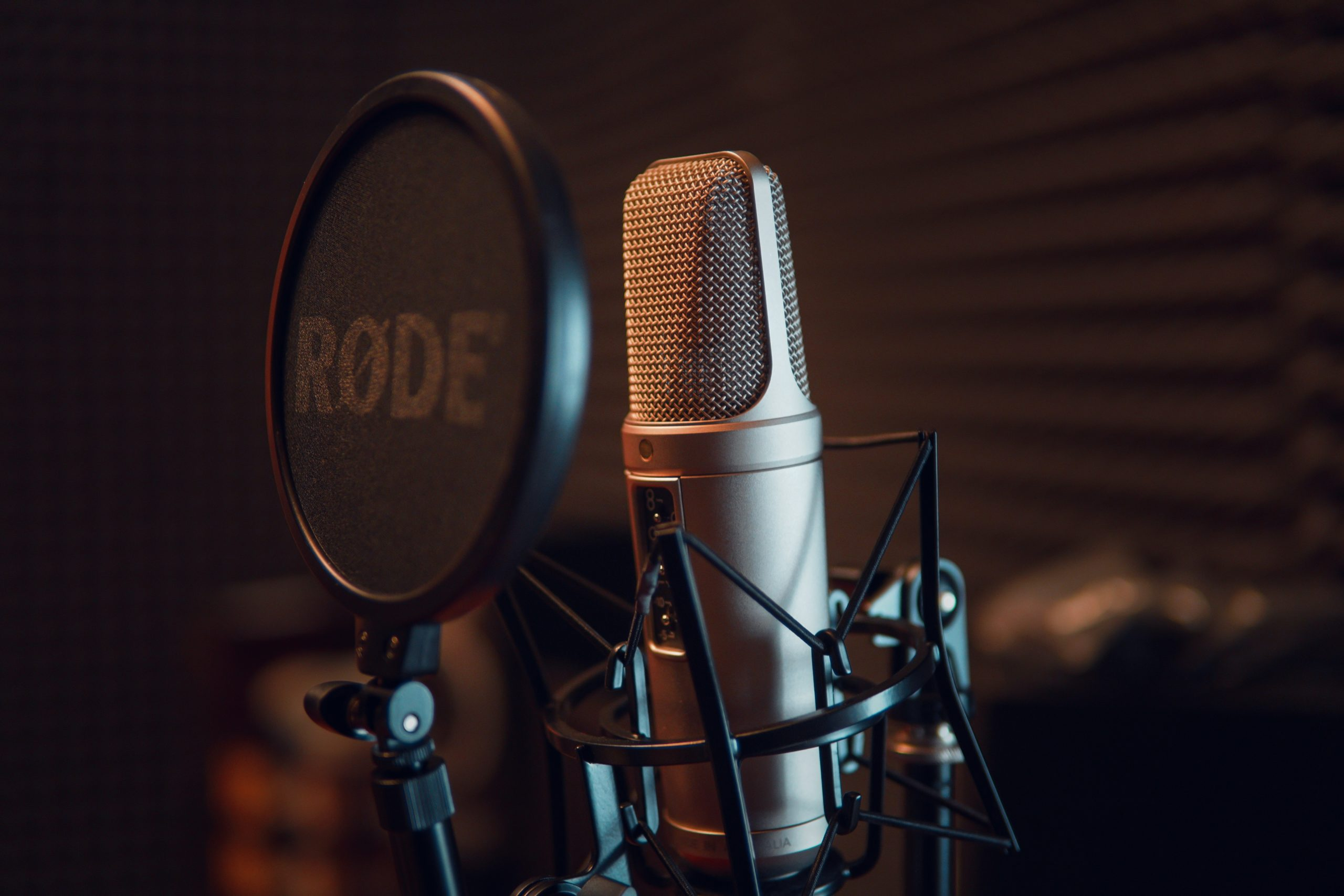 Närbild på en silvrig mikrofon med ett svart puffskydd.