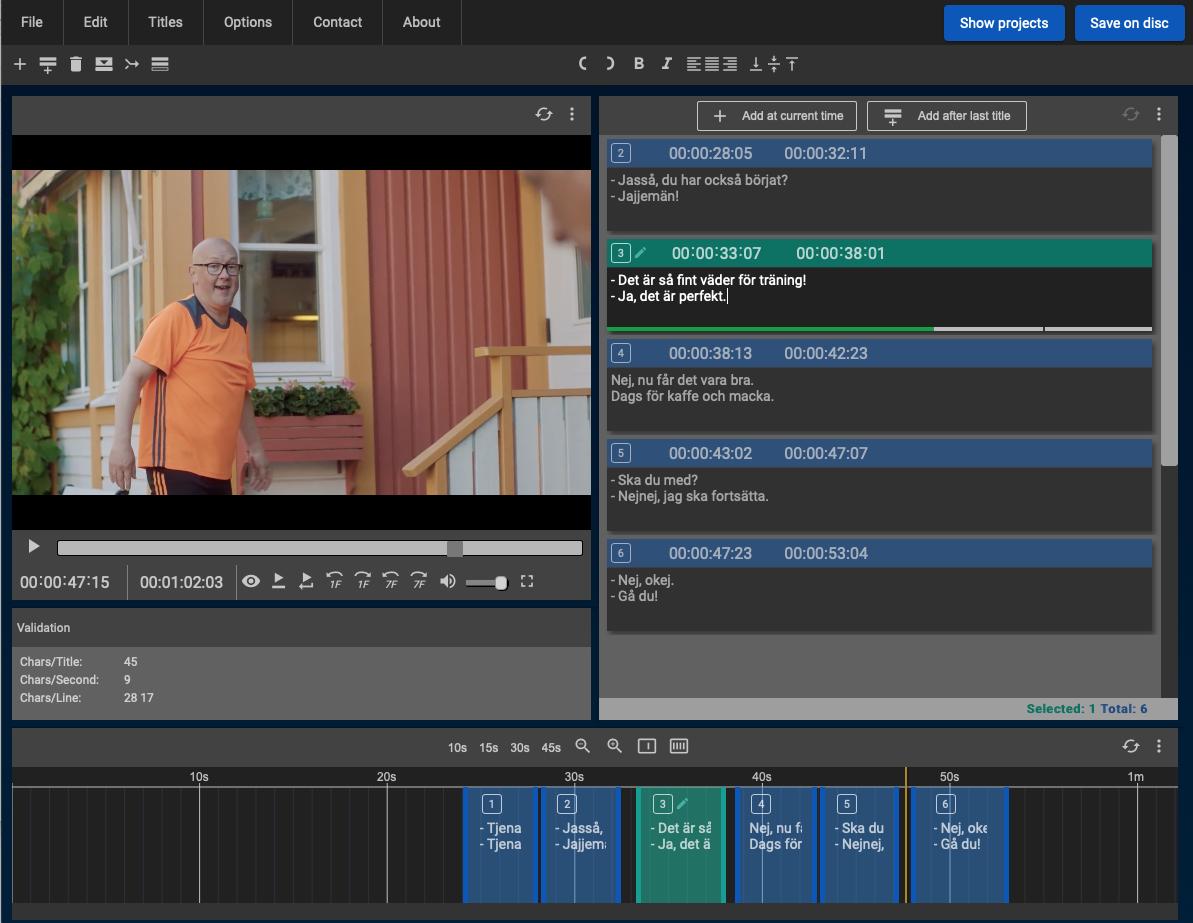 Skärmbild på Subtitle Horse